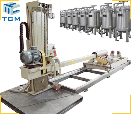 Steel filter housing surface automatic polishing machine