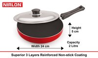 Nirlon Non Stick Aluminium Deep Frying Pan with SS lid