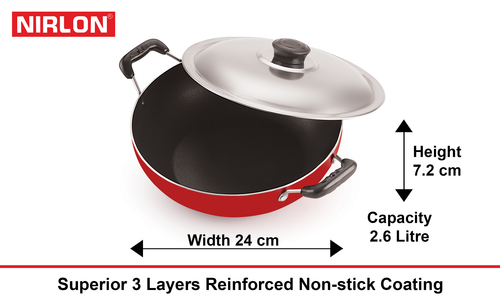 Nirlon Aluminium Non stick Deep Kadai with Glass Lid