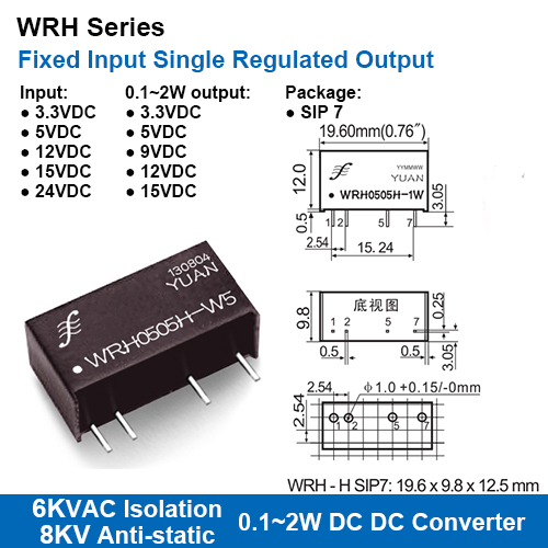 Wrh Series 6kvac Isolation Fixed Input Single Regulated Output Dc-dc Converters With 8kv Anti-static Protection