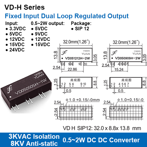 Vd-h Series 3kvac Isolation Fixed Input Dual Loop Regulated Output Dc-dc Converters With 8kv Anti-static Protection