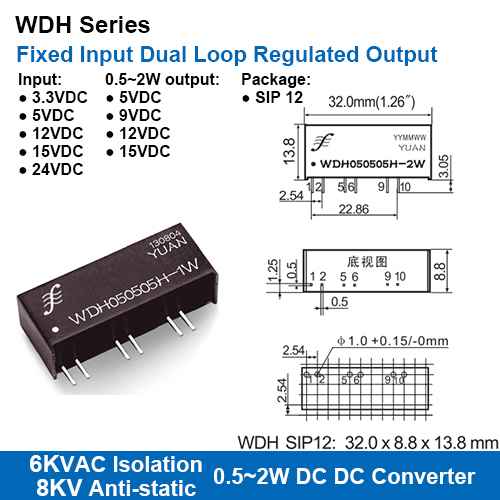 WDH Series 6KVAC Isolation Fixed Input Dual Loop Regulated Output DC-DC Converters With 8KV Anti-static Protection