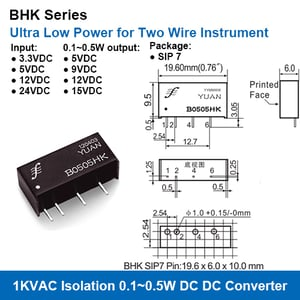 Bhk Series 1kvac Isolation Ultra Low Power 0.1~0.5w Dc-dc Converters For Two Wire Instruments