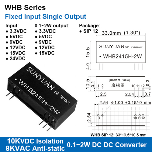 Whb Series 10kvdc High Isolation Fixed Input Single Regulated Output Dc Dc Converters With  8kv Anti-static Protection