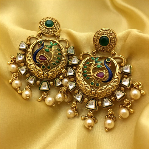 Antique Kundan Peacock Chandbali