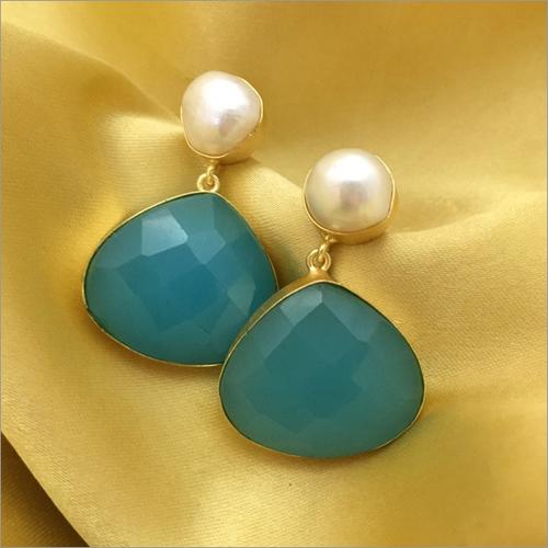 Elegant Baroque Pearl Agate Earring