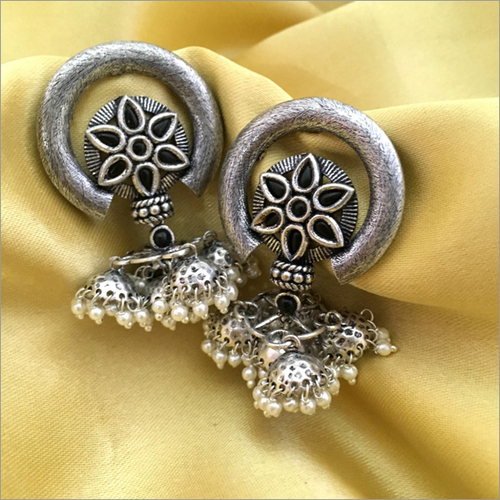 Antique Silver Modern Fusion Handmade Jhumka