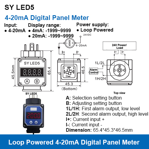Sy Led5 Hesman Connector Type Loop Powered 4-20ma Digital Display Meters