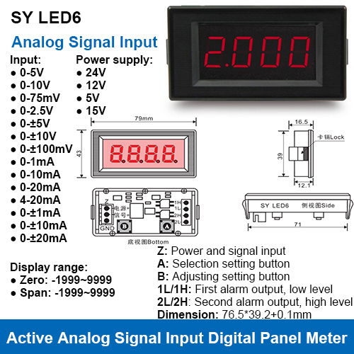 SY LED6 Current or Voltage Input Active Digital Panel Meters