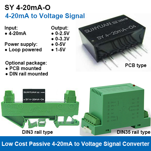 SY 4-20mA-O Two Wire Loop Powered 4-20mA to Voltage Signal Converters