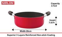 Nirlon Deep Casserole Nonstick Cookware Aluminium Utensils 20cm, 2 Liter, Gas Compatible bartan
