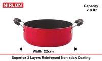Nirlon Non Stick Casserole Pan 22cm, Aluminum Nonstick Biryani Cooking Pot Non Stick Skillet
