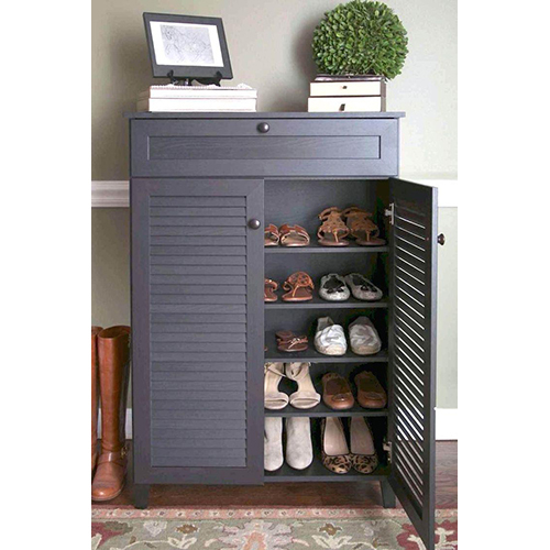 Wooden Black Shoe Rack