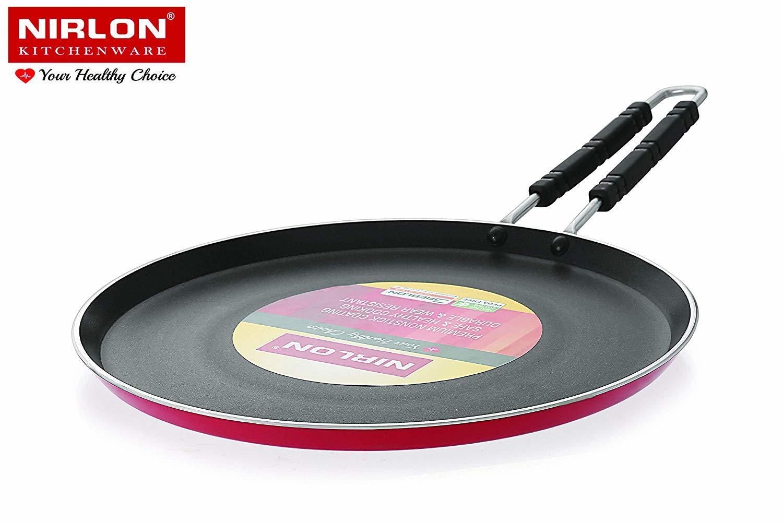 Nirlon 4mm 28cm Non Stick Cookware Gas Compatible Aluminium Flat Roti Dosa Tawa With Wire Handle (Red)