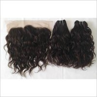 Black Wavy Raw Human Hair Extension With Matching Lace Frontal