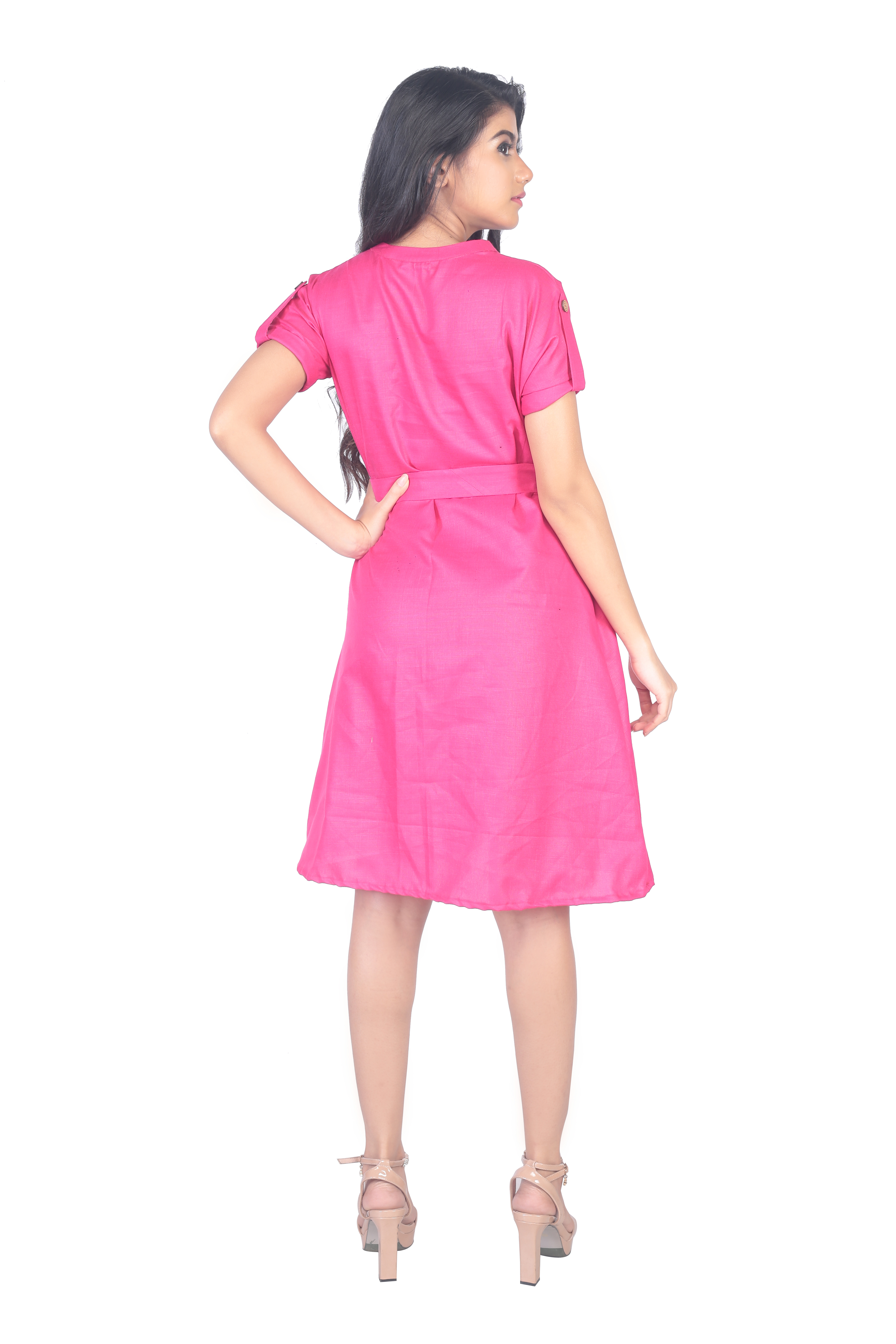 Shift Dress with Tie-Up Belt