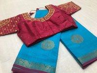 Tusser Silk Digital Print Sarees