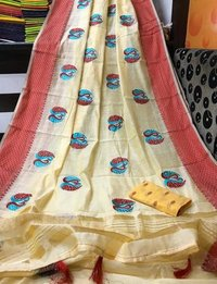 Fancy Embroidery Patta Border Saree