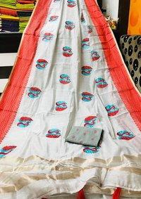 Fancy Embroidery Patta Border Saree