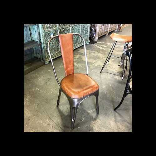 Industrial leather stool