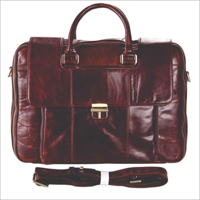 Brown Oily Crunch Leather Laptop Bag