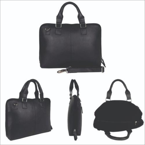 Fabbro Black Leather Laptop Bag
