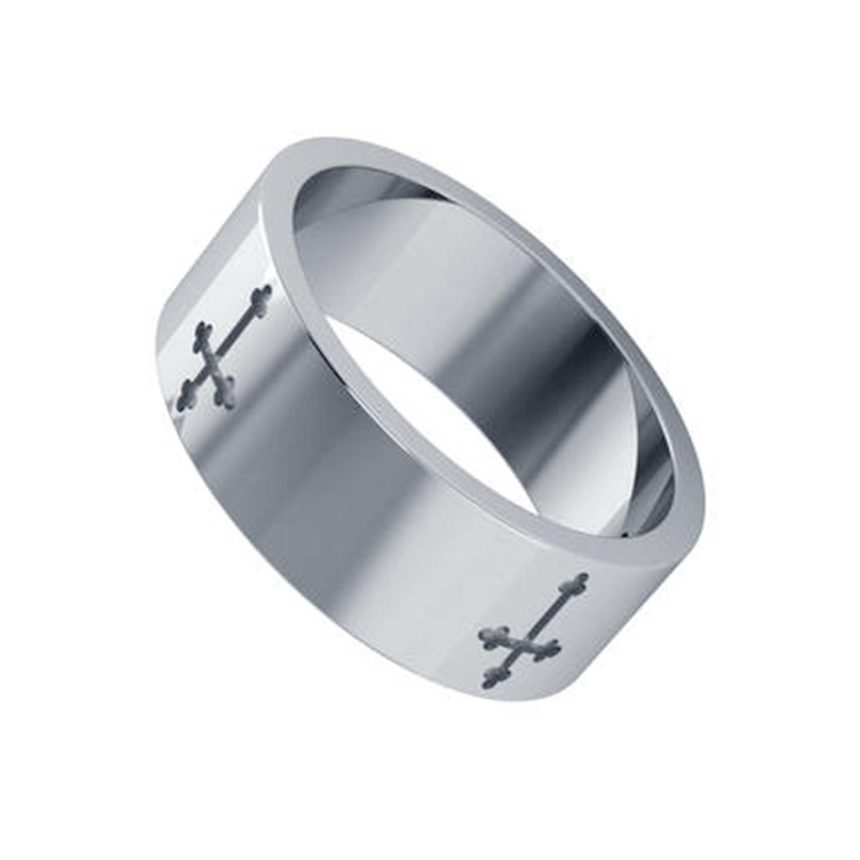 Cross Shape Silver Men Ring