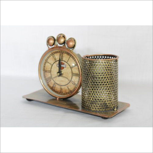 Metal Table Clock Pen Stand