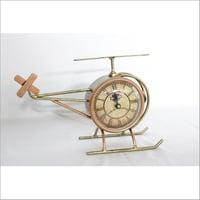 Metal Helicopter Design Clock