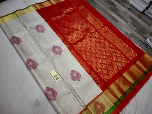 pure kanchipuram soft silk whit meena butta
