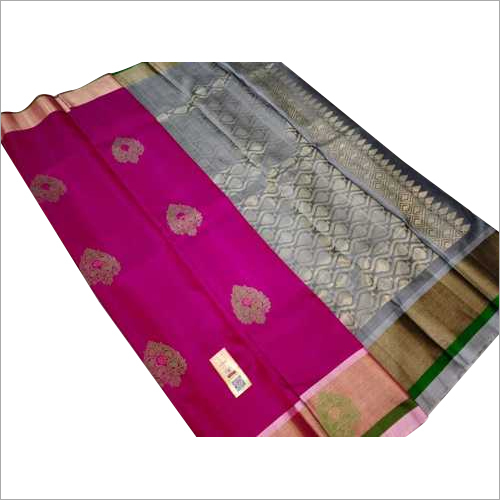 pure silk saree with meena butta all over saree and sidebutta