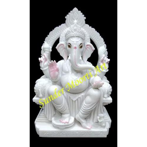 White Marble Ganesh ji Moorti