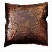 Crocodile Print Leather Cushion Cover