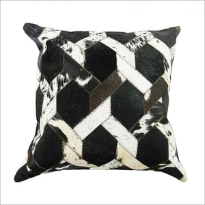 Hair On Patchwork Leather Cushion Cover