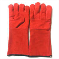 Red Split Leather Palm Gloves