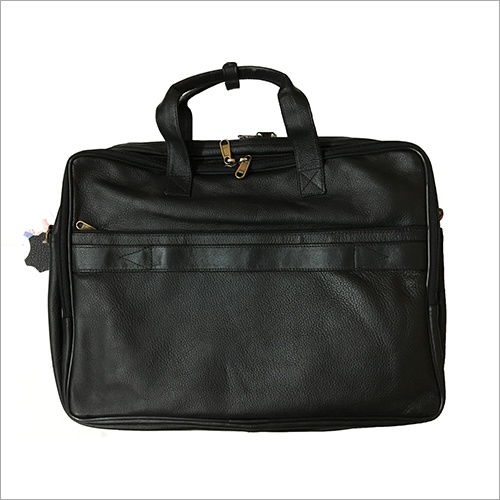 Pure Black Leather Laptop Bag