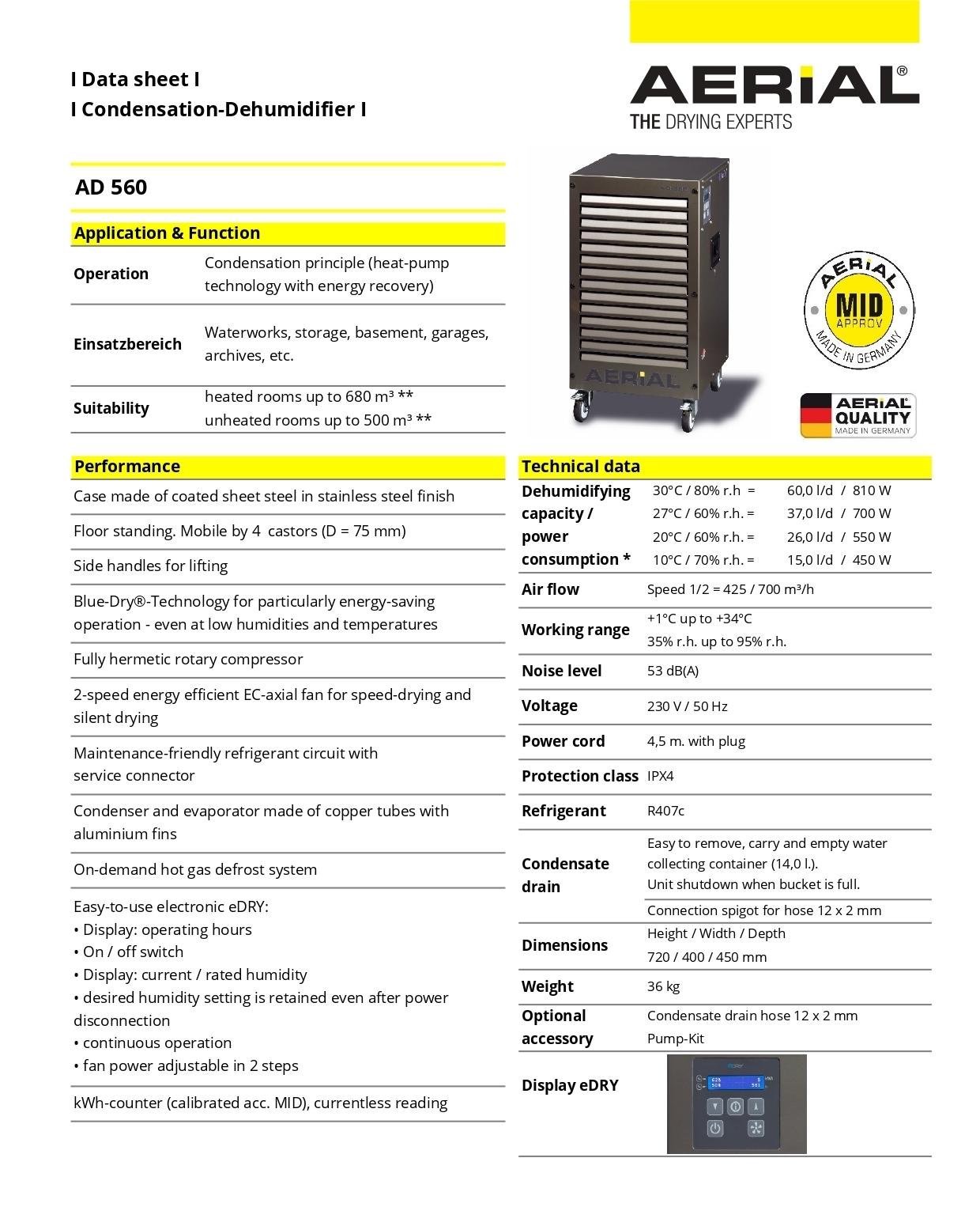 60 Lit Aerial Industrial Dehumidifier