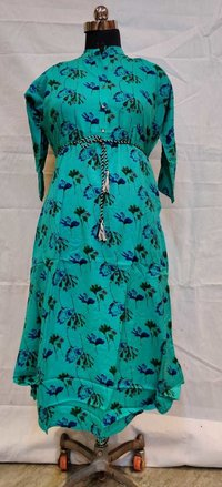 Party Wear Straight Rayon Long Kurti