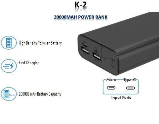 K2 Power Bank 20000Mah