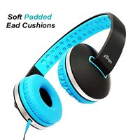 pTron Rebel On-the-Ear Stereo Sound Headphones with Mic (Neon Blue)