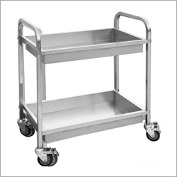 2 Tier Stainless Steel Serving Trolley