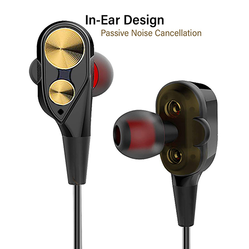 pTron Boom 2 Dual-Driver In-Ear Wired Headphones with Bass & Mic