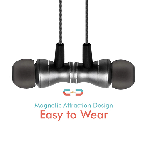 pTron Magg Magnetic In-Ear Stereo Sound Wired Headphones with Mic