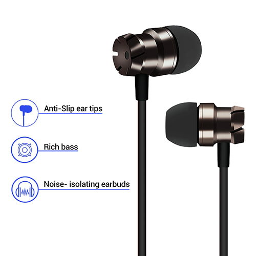 pTron HBE6 (High Bass Earphones) In-Ear Metal Wired Headset with Mic