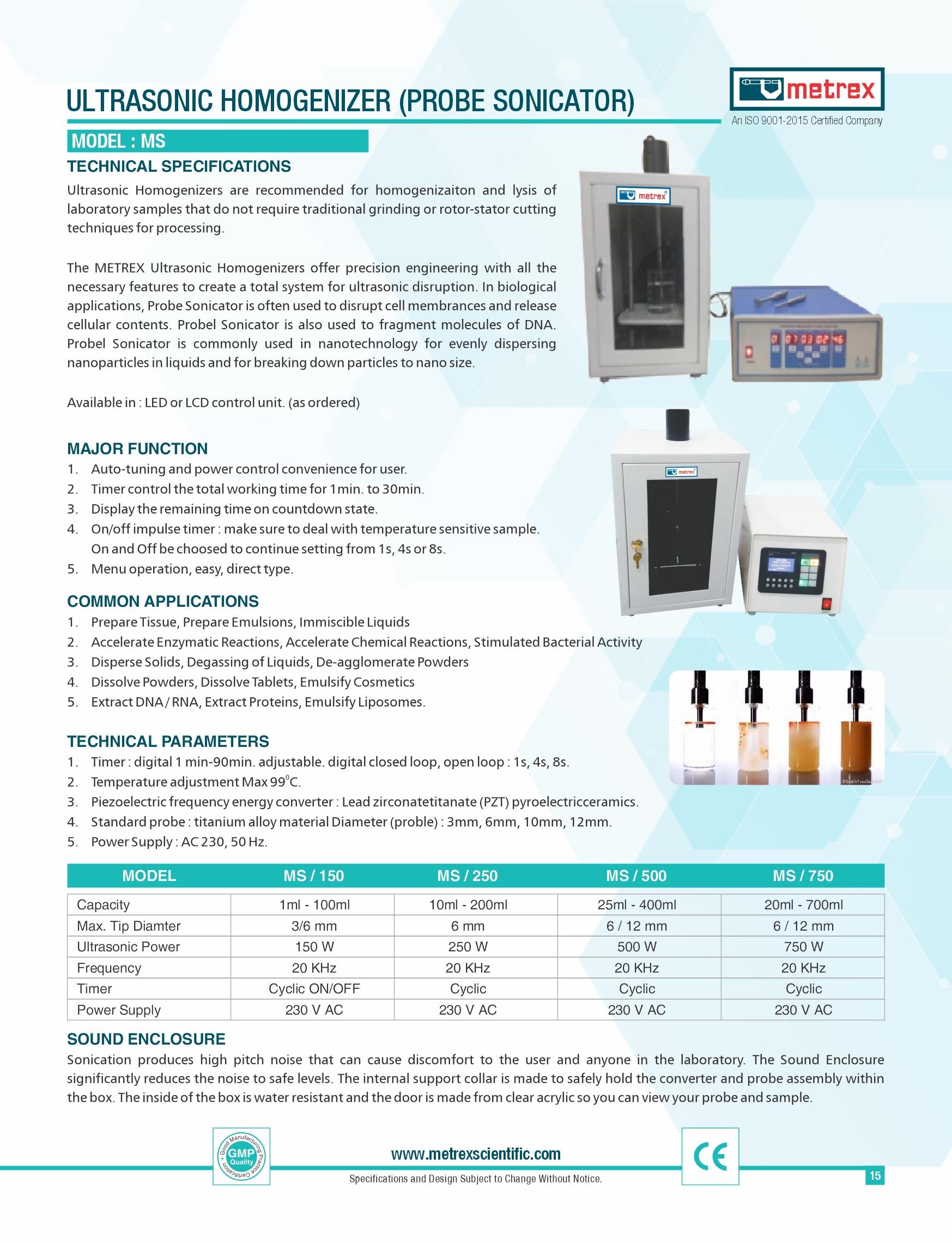 Ultrasonic Homogeniser ( Probe Sonicator )