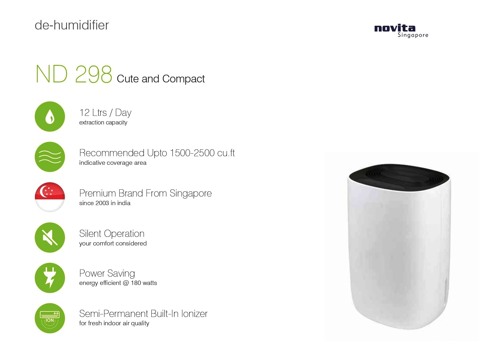 Compact Portable Dehumidifier with Built in Ionizer