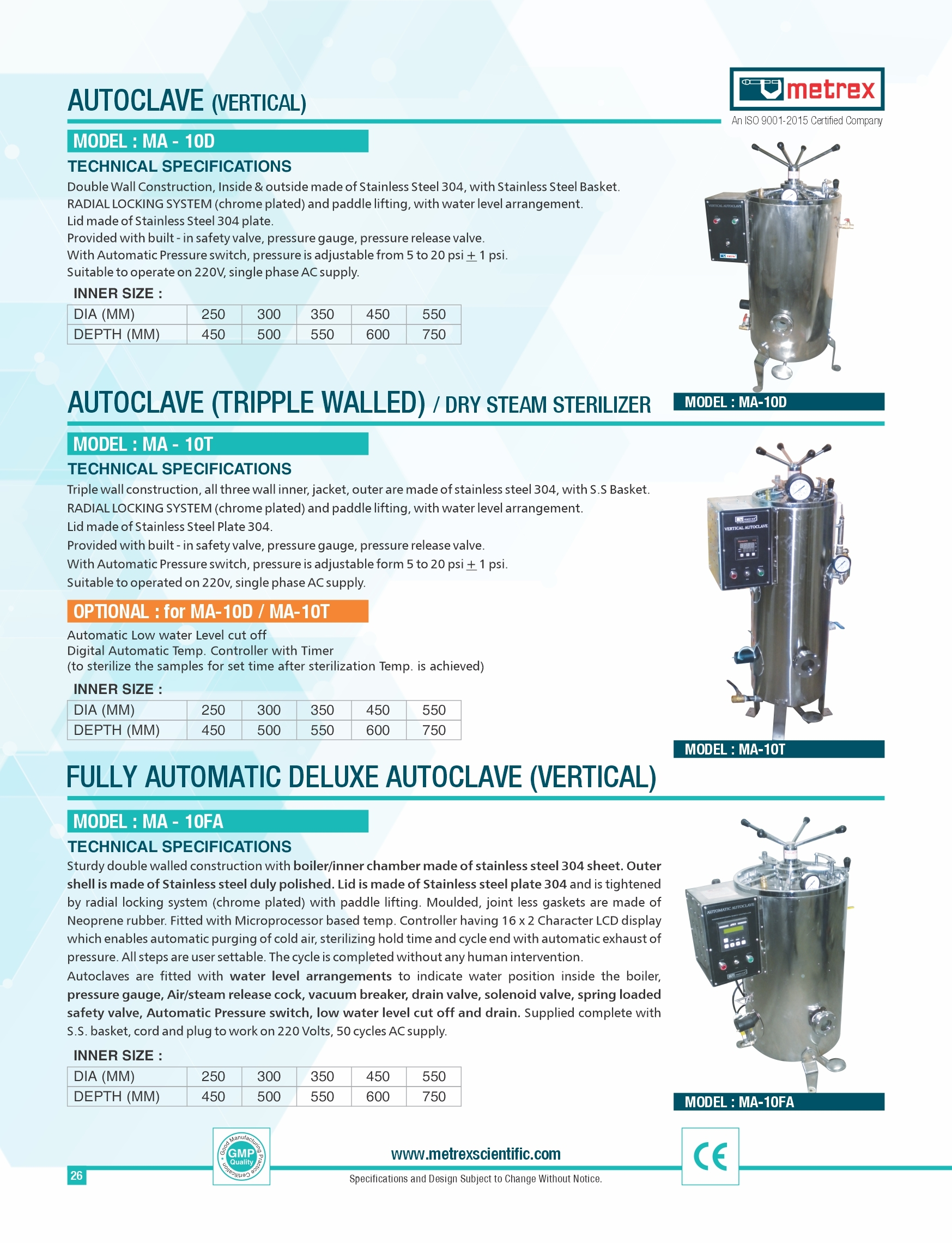 Fully Automatic Deluxe Autoclave ( Vertical )