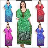 Long print embllished kaftan gown