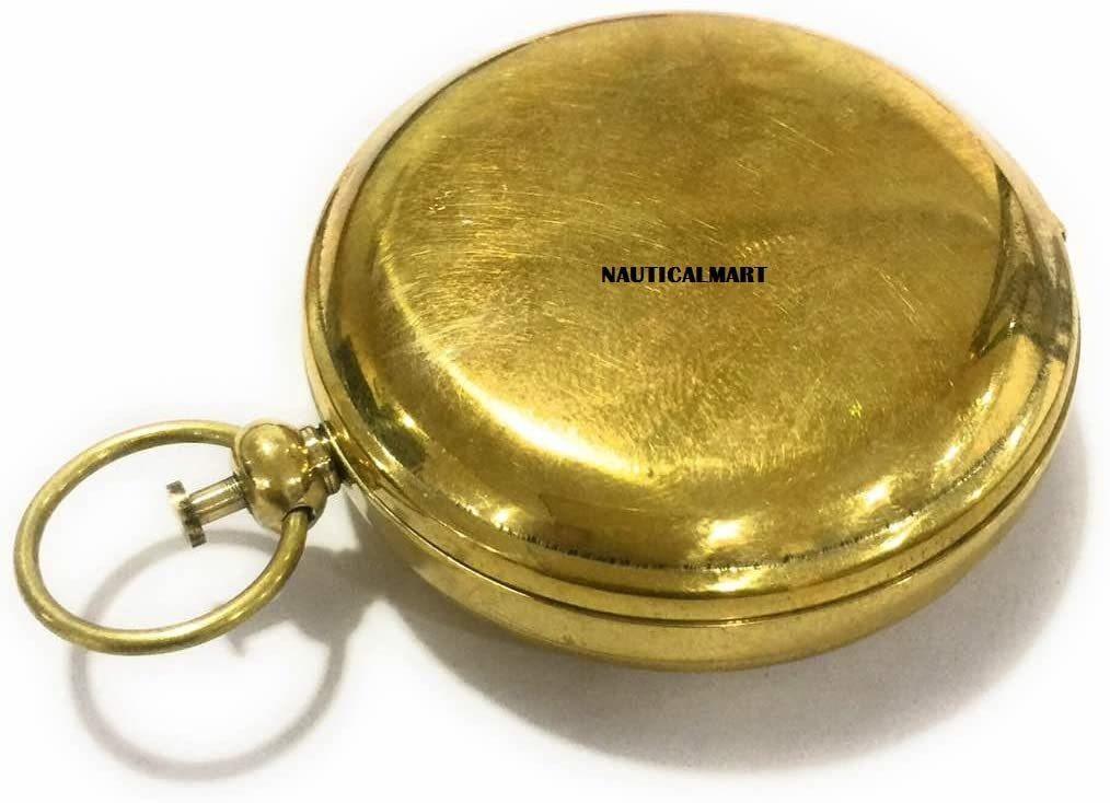NauticalMart Handmade Brass Push Button Compass -Direction Compass, Brass Pocket Compass, Pirate Gift Compass