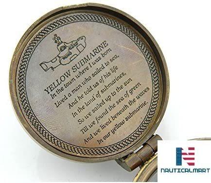 NauticalMart Yellow Submarine Poem Compass Beatles Finder Compass W/Case